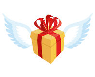Gift with wings. Flying gift box with red bow and ribbon. Royalty Free Stock Images