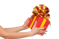 Gift With Yellow Bow Royalty Free Stock Photos