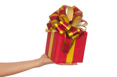 Gift With Yellow Bow Stock Photos