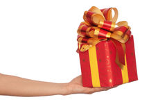 Gift With Yellow Bow Stock Image