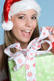Gift Woman. Happy christmas woman holding gift Stock Image