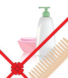 Gift for the woman. Illustration of the objects of hygiene against the white background Royalty Free Stock Photo