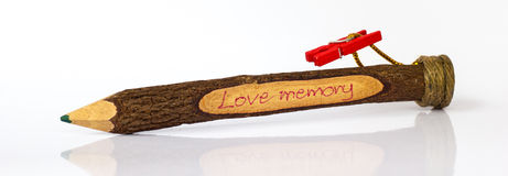 Gift Wood pencil. Love memory Royalty Free Stock Photos