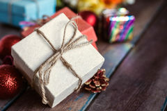 Gift on a wooden. Stock Photography