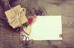 Gift with a wooden heart Stock Photo