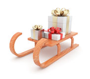Gift on wooden sled.  Christmas concept. 3D. Illustration  on white background Stock Photos