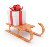 Gift on wooden sled.  Christmas concept. 3D. Illustration  on white background Stock Images