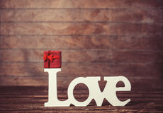 Gift and word Love Stock Image
