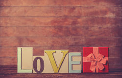 Gift and word Love Stock Photo