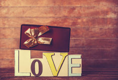 Gift and word Love Stock Images