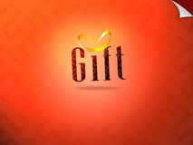 Gift wording with golden ribbon Stock Photos