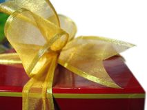 Gift Wrap. Golden Bow on gift stock images