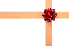 Gift Wrap with Orange Ribbon and Red Bow Royalty Free Stock Photos