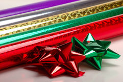 Gift wrap paper and bows Royalty Free Stock Photography