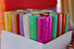 Gift wrap paper. Roll of more colors gift wrap paper stock images