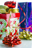 Gift Wrap. Ribbons, bows, boxes for packing gifts Stock Image