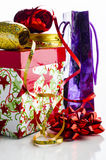 Gift Wrap. Ribbons, bows, boxes for packing gifts Royalty Free Stock Photography