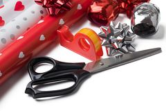 Gift wrap and scissors Stock Image