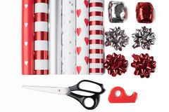 Gift wrap and scissors Stock Photo