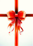 Gift wrapped. Vector illustration of gift wrapped white paper with a red ribbon and funky bow Royalty Free Stock Photography