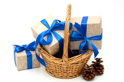 Gift wrapped blue ribbon with bow. Isolated on white, Christmas and New Years box Stock Images