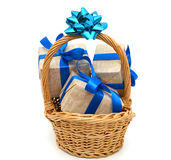 Gift wrapped blue ribbon Stock Photography
