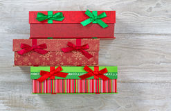 Gift Wrapped boxes for the holiday season Stock Image