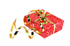 Gift wrapped in heart paper Stock Photography