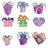 Gift wrapped icon set Royalty Free Stock Photos