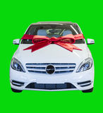 Gift Wrapped Motor Vehicle isolated on green Royalty Free Stock Photography