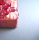 Gift wrapped present. Close up of colorful gift wrapped present isolated on white background Royalty Free Stock Photo