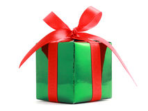 Gift wrapped present with red bow Royalty Free Stock Photos