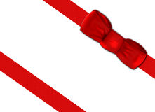 Gift wrapped with red ribbon stock image