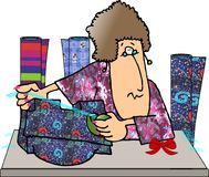 Gift wrapper. This illustration that I created depicts a woman wrapping gifts Royalty Free Stock Images