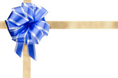 Gift wrapping. Blue Bow and ribbon isolated on white background for wrapping stock images