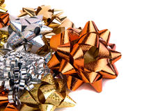 Gift Wrapping Bow Assortment. An assortment of metallic gift wrapping bows royalty free stock photo
