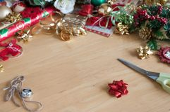 Gift wrapping backgroung Stock Photos