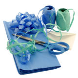 Gift wrapping items. Items needed to wrap a gift Royalty Free Stock Image