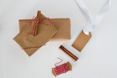 Gift wrapping with kraft paper Stock Photography