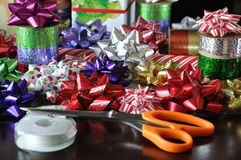 Gift wrapping materials Royalty Free Stock Photography