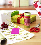 Gift wrapping materials on table Stock Photography