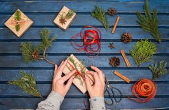 Gift wrapping. Packaging christmas present boxes. Topview of hands with fir tree, cedar, juniper, branches. Preparation for holid stock photo