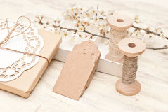 Gift wrapping. Packaging and decoration gift bag Stock Photos