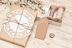 Gift wrapping. Packaging and decoration gift bag Stock Image
