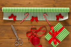 Free Gift Wrapping. Packaging Modern Christmas Present In Boxes Royalty Free Stock Photography - 100971627