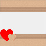 Gift wrapping paper or cardboard with hearts Royalty Free Stock Images