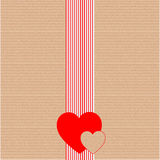 Gift wrapping paper or cardboard with hearts. Gift wrapping paper or cardboard with redhearts Royalty Free Stock Photos