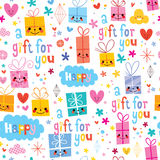Gift wrapping paper cartoon seamless pattern Stock Photos