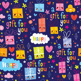 Gift wrapping paper cartoon seamless pattern vector illustration