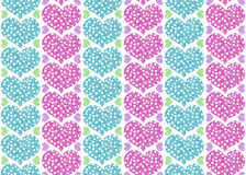 Gift wrapping paper design with pink and blue hearts, pastel col Royalty Free Stock Photo